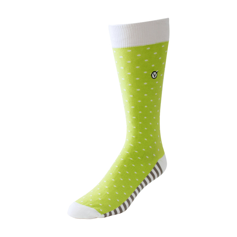 Men's Dress Sock - Polka Dots - Light Green