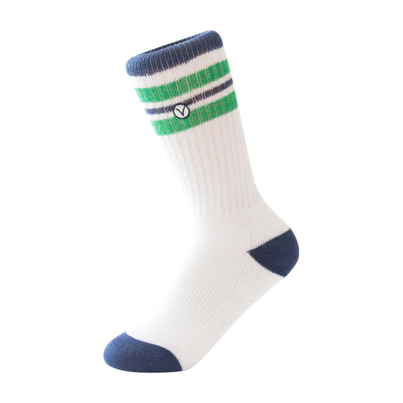 Boy's Casual Crew Sock - White with Green Stripes