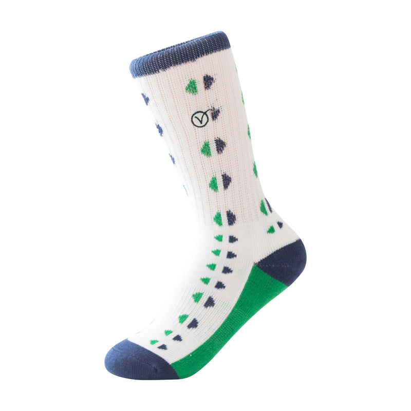Boy's Casual Crew Sock - Blue and Green Triangles