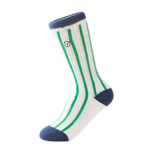 Boy's Casual Crew Sock - Green Vertical Stripes