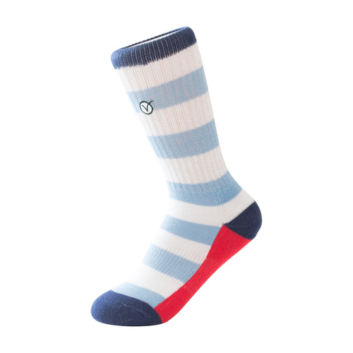 Boy's Casual Crew Sock - Thick Blue Stripes