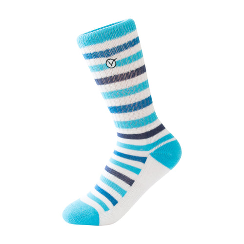 Boy's Casual Crew Sock - Thin Blue Stripes