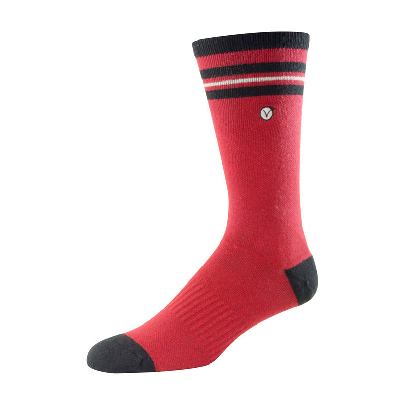 Mens Athletic Socks (Red and Black Thin Stripe)