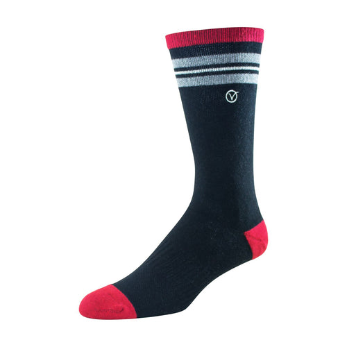 Mens Crew Socks (Black and Grey Thin Stripe)