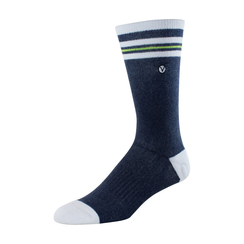 Mens Crew Socks (Blue and Green Thin Stripe)