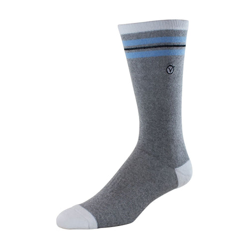 Mens Crew Socks (Grey and Light Blue Thin Stripe)
