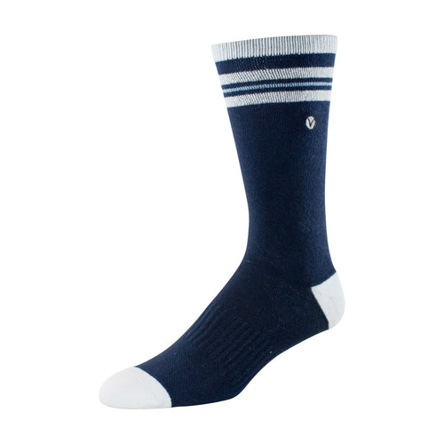 Mens Crew Socks (Dark Blue and White Thin Stripe)