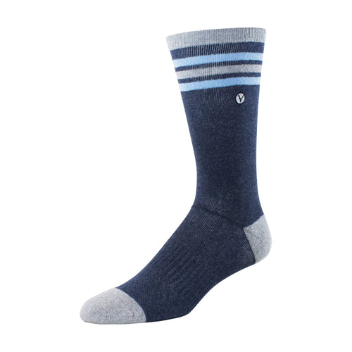 Mens Crew Socks (Dark Blue and Light Blue Thin Stripe)