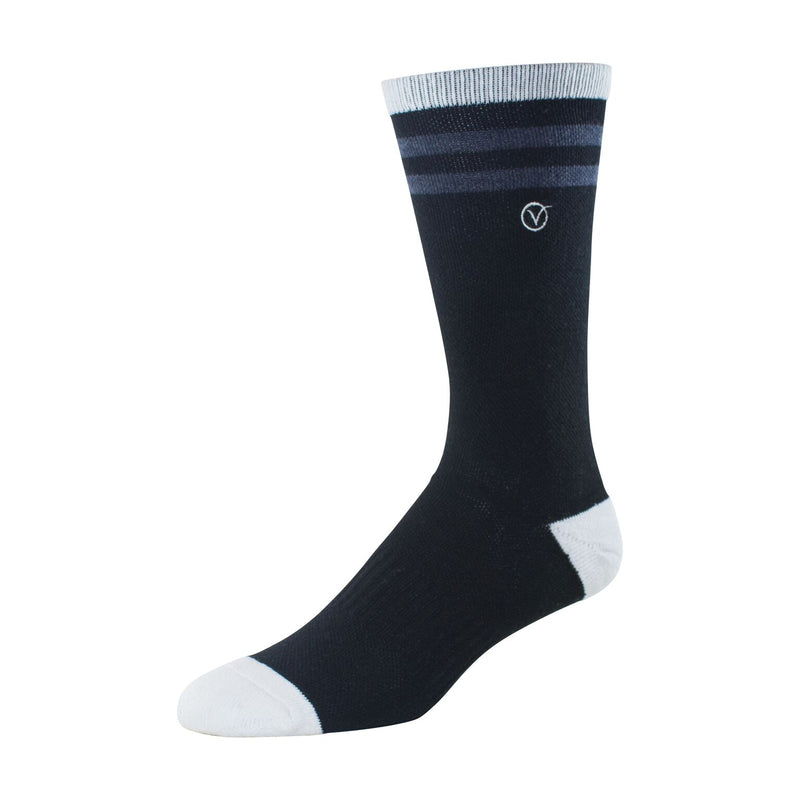 Mens Crew Socks (Black and Charcoal Thin Stripe)