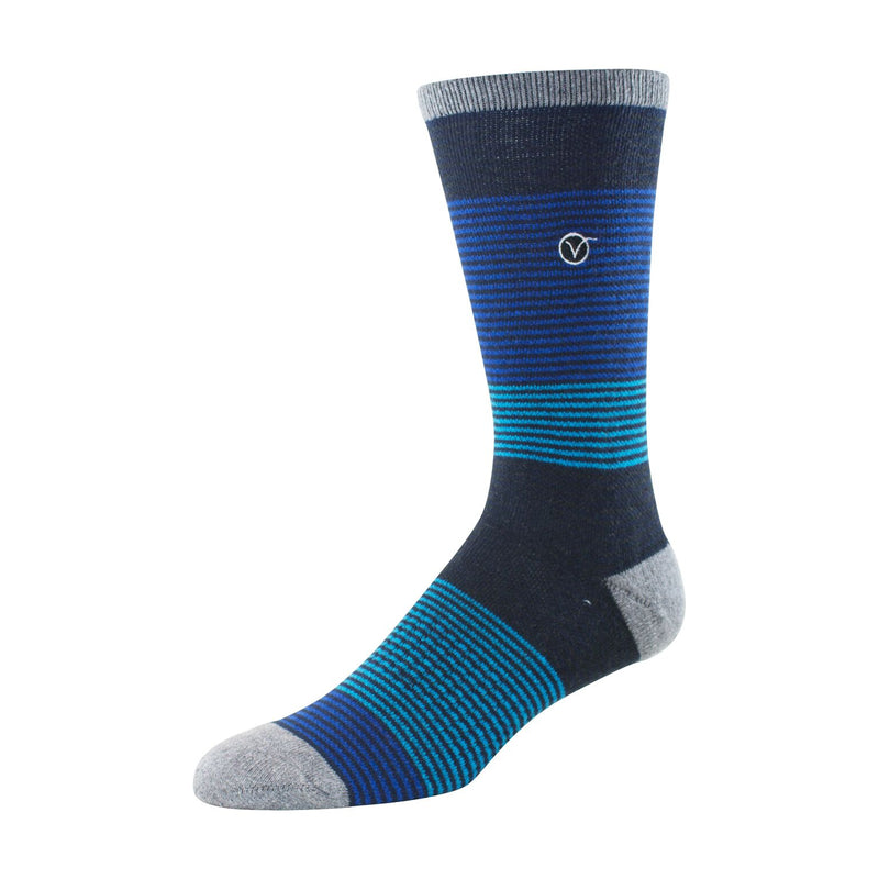 Mens Crew Socks (3 Blues Striped)