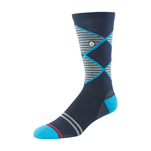 Mens Crew Socks (Blue and Grey Argyle )