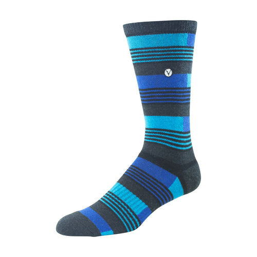 Mens Crew Socks (Blue and Grey Striped )