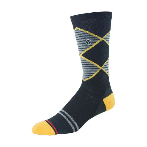 Mens Crew Socks (Black and Yellow Argyle )