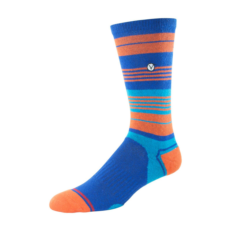 Mens Crew Socks (Blue and Orange Striped )