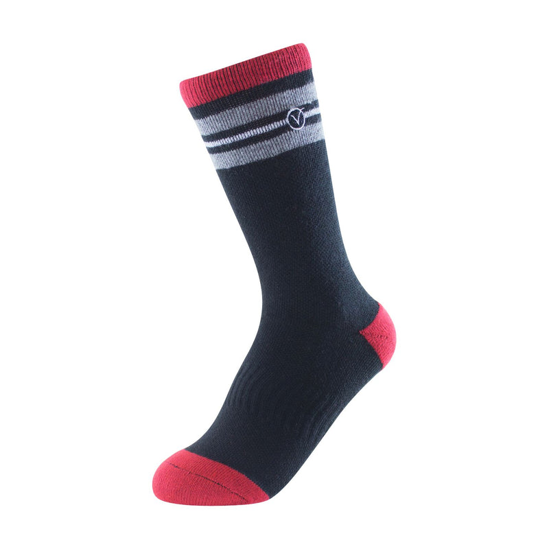 Boy's Crew Sock - Black Red and Grey Thin Stripe