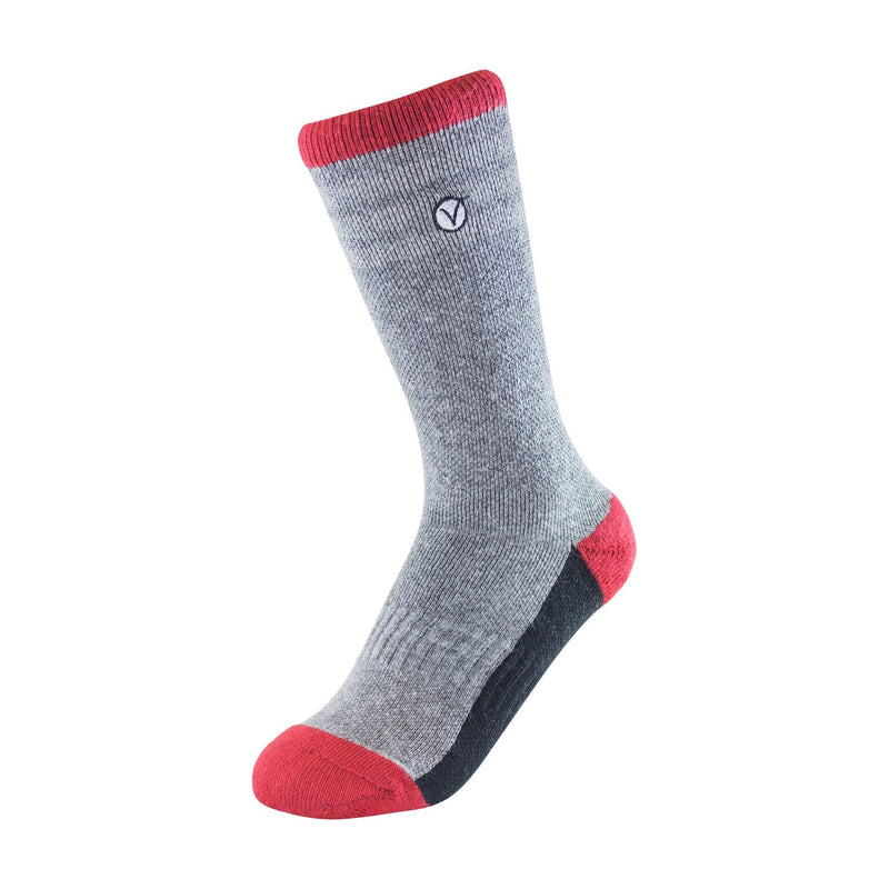 Boy's Crew Sock - Grey Red and Grey Thin Stripe