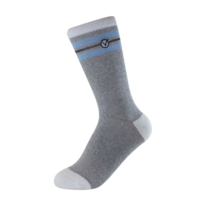 Boy's Crew Sock - Grey and Light Blue Thin Stripe