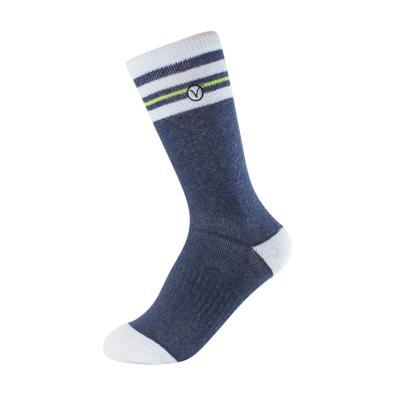 Boy's Crew Sock - Blue and Bright Green Thin Stripe