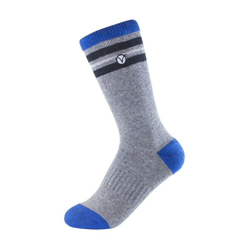 Boy's Crew Sock - Blue Grey and Black Thin Stripe