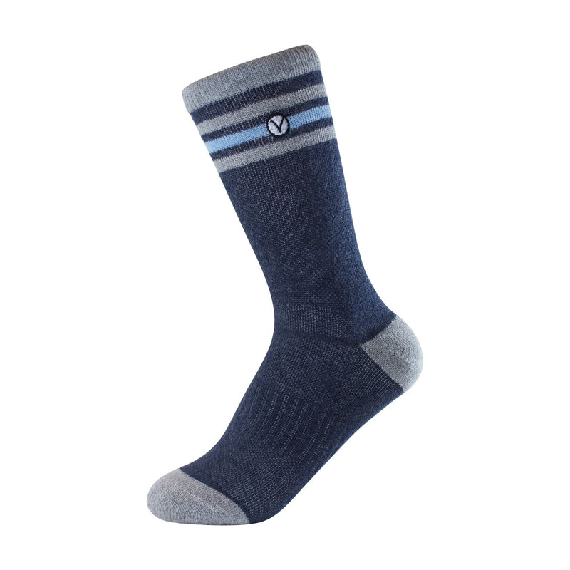 Boy's Crew Sock - Blue and Grey Thin Stripe