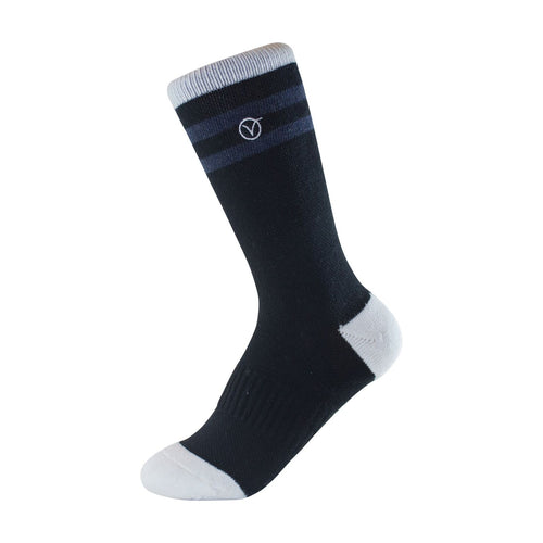 Boy's Crew Sock - Black and Charcoal Thin Stripe