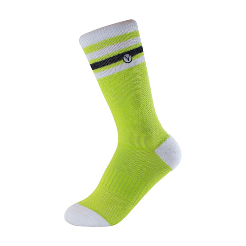 Boy's Crew Sock - Bright Green and White Thin Stripe
