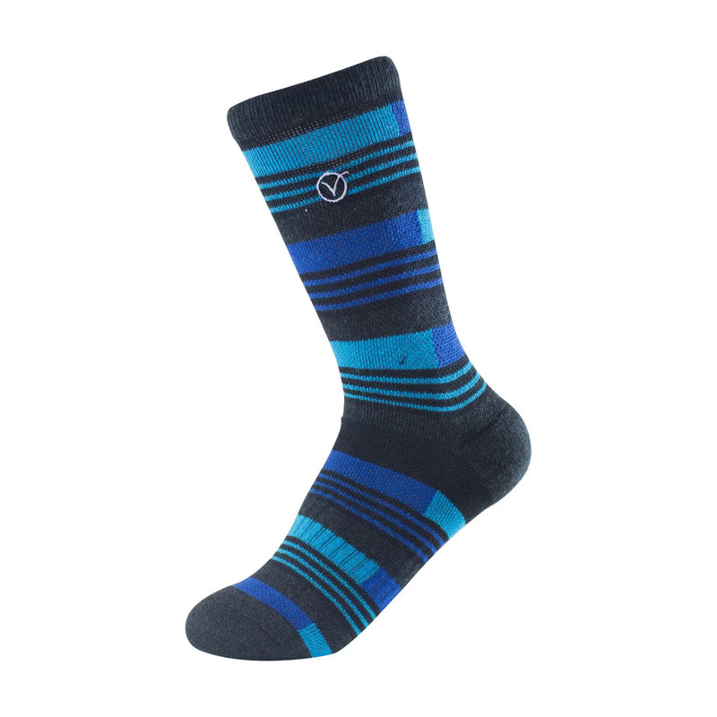 Boy's Crew Sock - Blue and Black Striped