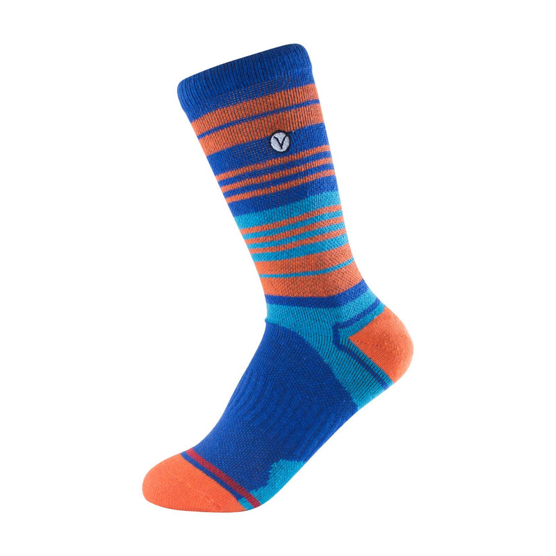 Boy's Crew Sock - Blue and Orange Striped