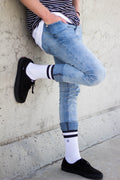 Men's Casual Crew Sock - White w/ Black Stripe