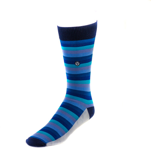 Men's Dress Sock - Blue and Gray Stripes