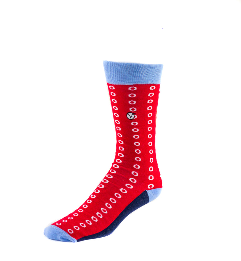 Men's Dress Sock - Red with White Circles