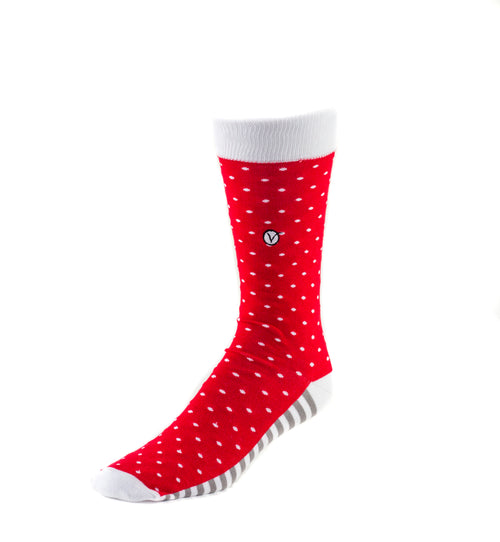 Men's Dress Sock - Polka Dots - Red