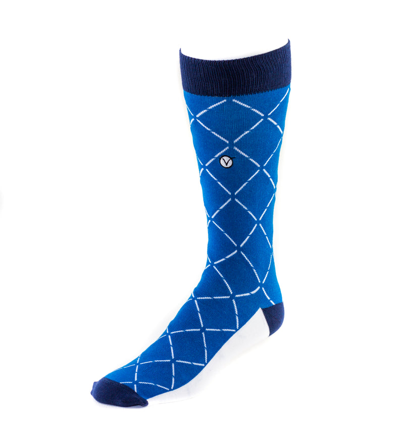Men's Dress Sock - Blue with Dashed Diamonds