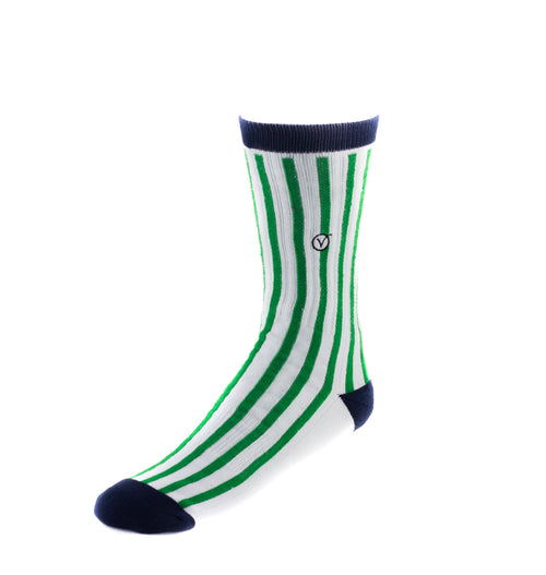 Men's Casual Crew Sock - Green Vertical Stripes