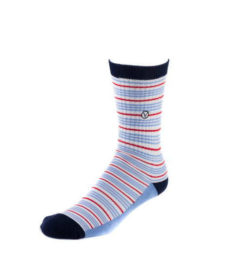 Men's Casual Crew Sock - Thin Blue and Red stripes