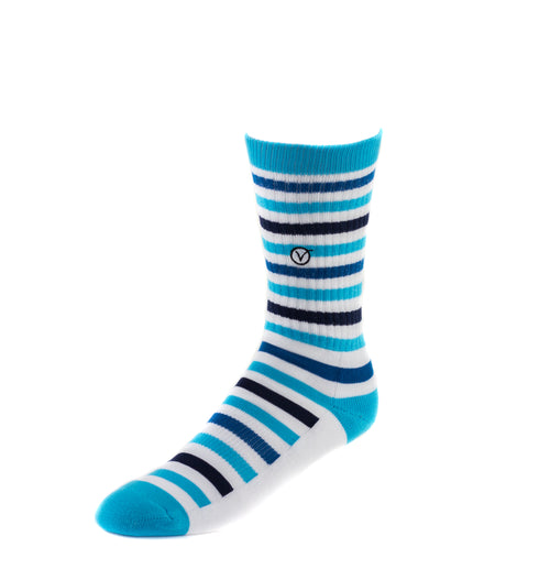Men's Casual Crew Sock - Thin Blue Stripes