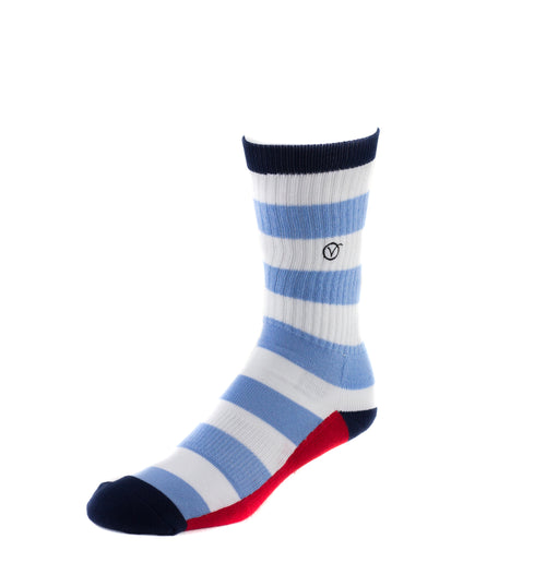 Men's Casual Crew Sock - Thick Blue Stripes