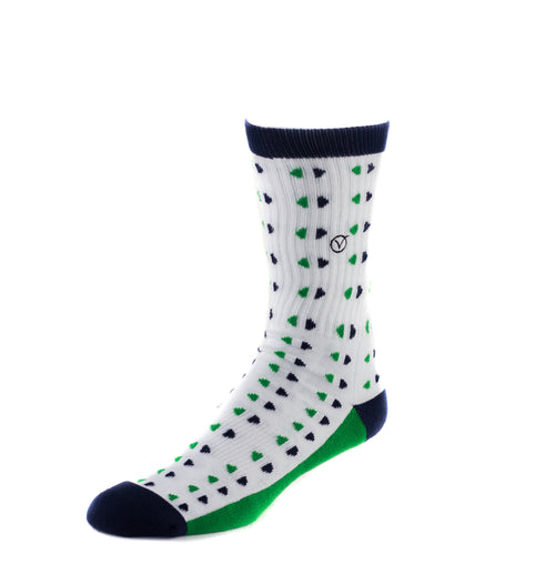 Men's Casual Crew Sock - Blue and Green Triangles