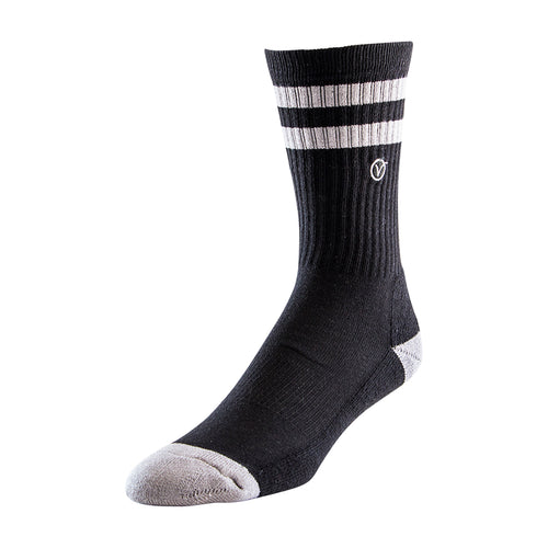 Men's Casual Crew Sock - Black w/ Gray Stripe