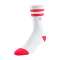 Men's Casual Crew Sock - White w/ Red Stripe