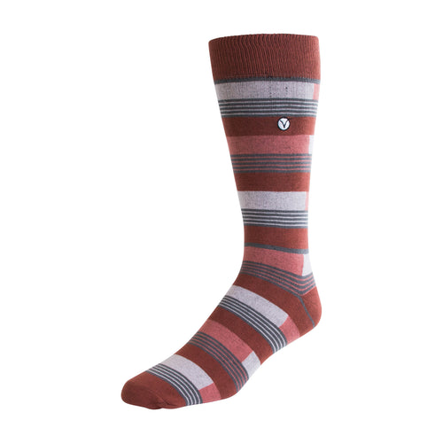 Men's Dress Sock - Orange & Gray Block