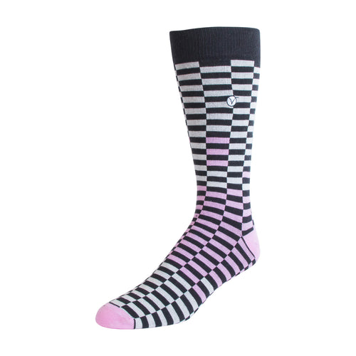 Men's Dress Sock - Pink & Black Checkers