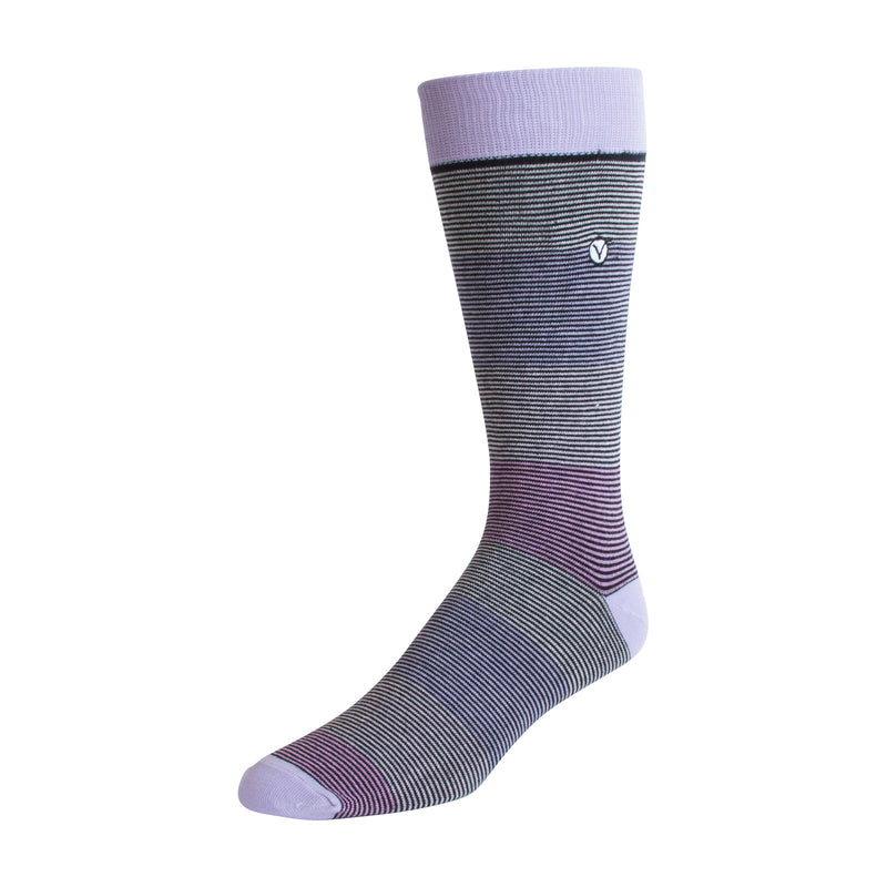 Men's Dress Sock - Pink Thin Stripes