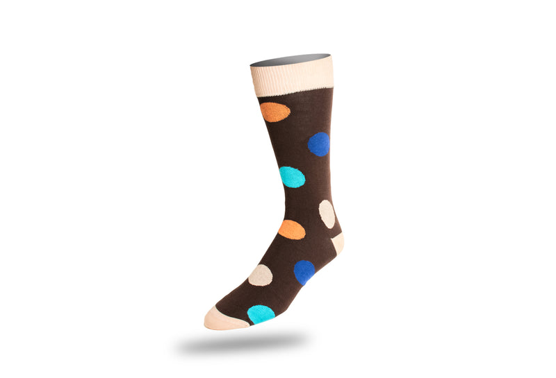 Men's Dress Sock - Polka Dots Orange and Blue