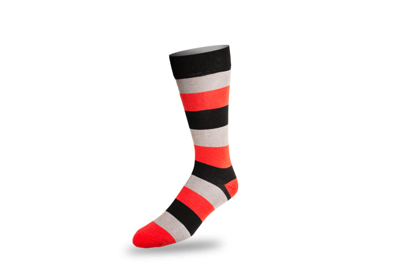 Men's Dress Sock - Thick Stripes Red and Black