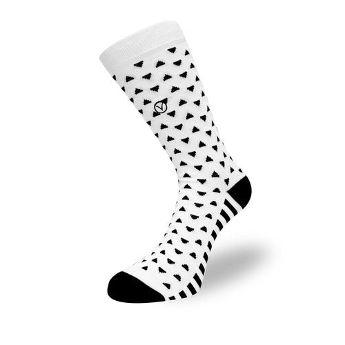 Women's Long Crew Sock - White and Black Triangular