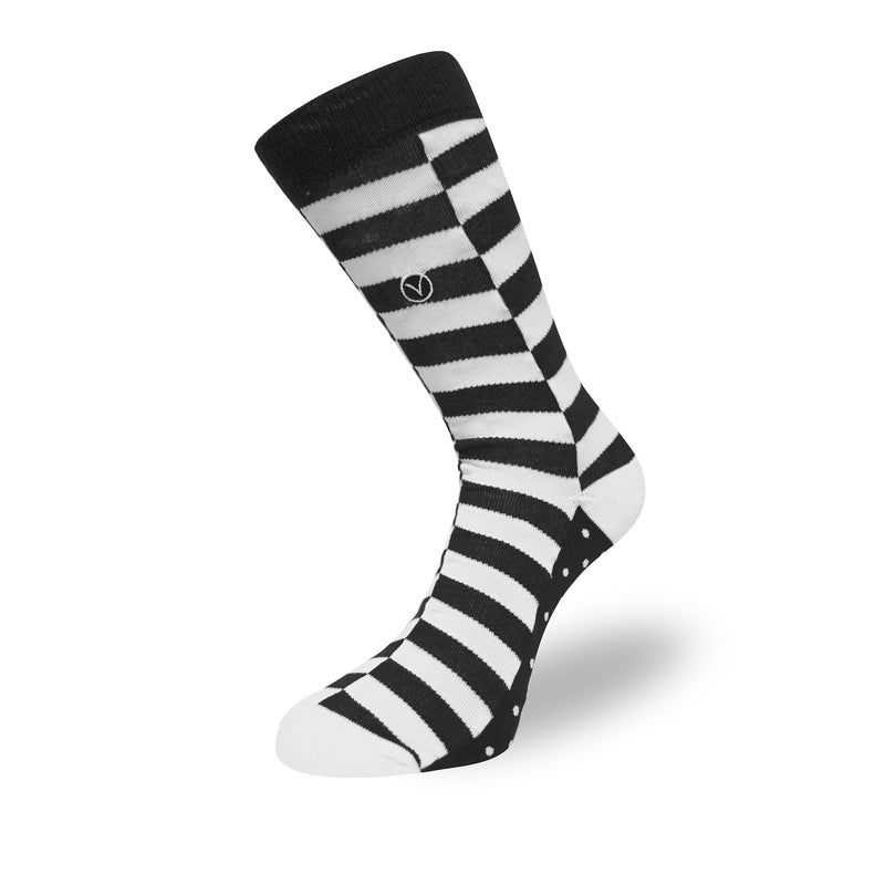 Women's Long Crew Sock - Black and White Block Stripes