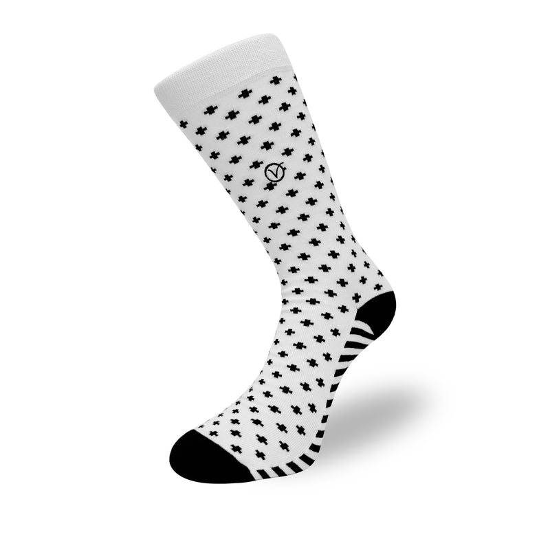 Women's Long Crew Sock - White and Black T Pattern