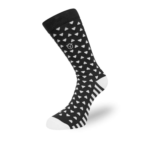 Women's Long Crew Sock - Black and White Triangular