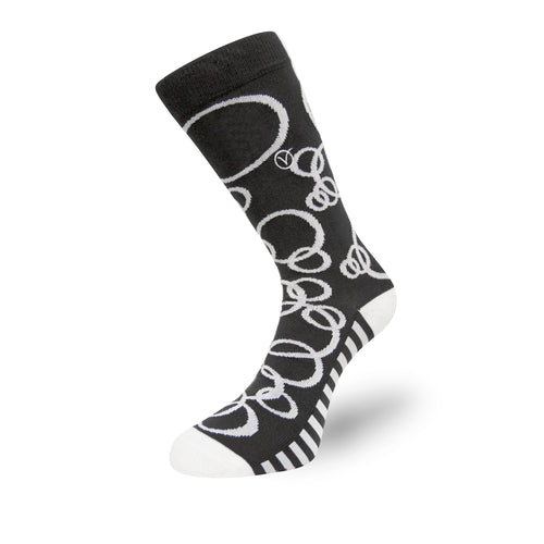 Women's Long Crew Sock - Black and White Circular